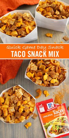 Looking for a quick and easy football party appetizer idea? Munch on this easy homemade snack mix recipe by the handful! Made with McCormick Taco Seasoning Mix cereals and crackers its the perfect last-minute treat ready in under 20 minutes. Quick Snacks, Yummy Snacks, Healthy Snacks, Easy Homemade Snacks, Healthy Snack Mixes, Homemade Crackers, Healthy Drinks, Snack Mix Recipes, Appetizer Recipes
