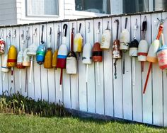 Fishing Boat Buoys Photograph - Nautical Wall Decor Print - Buoys on a Fence - Colorful Decor - FREE SHIPPING for our AUGUST Birthday Sale