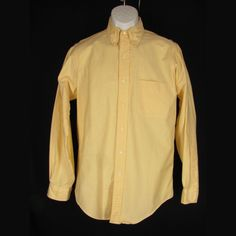 Brooks Brothers Shirt 15-34 Mens Yellow Oxford Original Polo Button Down Collar #BrooksBrothers #OriginalPoloShirt