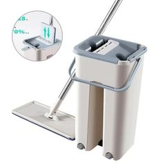 Flat Squeeze Magic Automatic Mop And Bucket Avoid Hand Washing Microfiber Cleaning Cloth Kitchen Wooden Floor Lazy Fellow Mop,Brown Floor Cleaning Mop, Cleaning Mops, Household Cleaning Supplies, Cool Kitchen Gadgets, Clean Microfiber, Wooden Flooring, Hand Washing, Magic, Flat