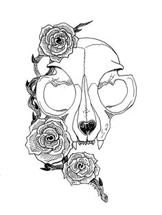 cat skull tattoo design to be used for inspiration tattoos Cat Skull Tattoo, Skull Tattoo Design, Tattoo Designs, Tattoo Ideas, Inspiration Tattoos, Cat Tattoos, Cat Skeleton, Skeleton Tattoos, Tattoo Sketches