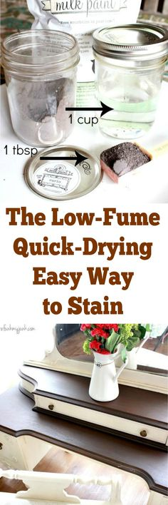 This is an easy alternative to staining.  No headache from the fumes and quick drying.
