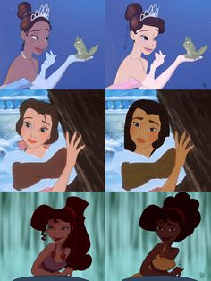 "Tumblr artist lettherebedoodles created W.O.C. of her own, reimagining some Disney princesses and other female characters with a ""race-bent"" twist. Description from pinterest.com. I searched for this on bing.com/images"
