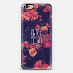 "Pink Rose Floral Vintage Photo Text Quote ""Enjoy Today"" -"