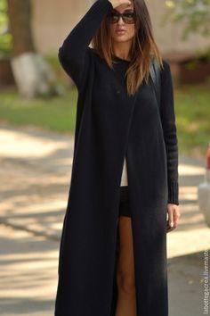 Купить Вязаное пальто La Liberta - черный, вязаный кардиган, кардиган вязаный, кардиган женский