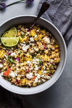 Mexican Street Corn Salad with Pearl Couscous puts a fun twist on elotes. Smoky grilled corn, a creamy cumin-lime dressing, and pearl couscous combine to create this delicious salad. You can find the full recipe here: www. Mexican Street Corn Salad, Mexican Salads, Mexican Food Recipes, Vegetarian Recipes, Healthy Recipes, Vegetarian Mexican, Superfood Recipes, Healthy Salads, Healthy Eating