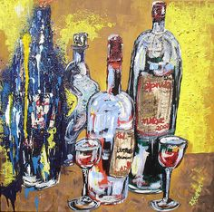 Whimsical Wine Bottles, Lisa Kramer, 24x24, Oil on canvas.