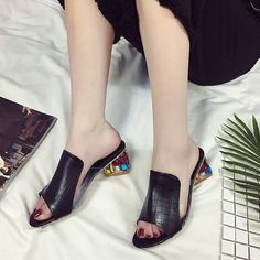 Rhinestone Women Sandals; Peep Toe Heels; Open Toe Wedge Slides; Shoes Woman Sandals Platform;