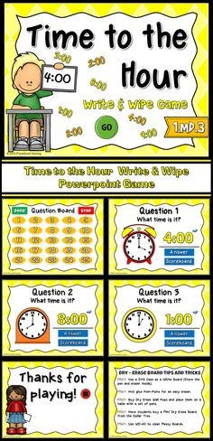 This fun game is the perfect companion when using dry-erase boards. Engage students with this fun, telling time game. Students are given clock and must determine what time it is. They answer on their own white boards. The are 25 questions with answers ranging from 1:00 to 12:00. There's even a cute animation to reveal the answer. Your students will beg you to play this game. Great for a guided math center or rainy day activity. Great for individual practice on the iPad!