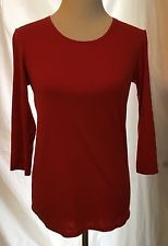 Uni Qlo Crew Neck Top L Women's Red 3/4 Sleeves Stretch Casual