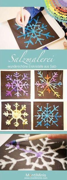 Salzmalerei – bunte Eiskristalle aus Salz Salt painting – colorful ice crystals made of salt Winter Crafts For Kids, Winter Kids, Winter Art, Diy For Kids, Diy Crafts To Do, Kids Crafts, Snow Crafts, Salt Painting, Ice Crystals