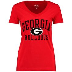 Georgia Bulldogs Alta Gracia (Fair Trade) Women's Relaxed Fit Keila V-Neck T-Shirt - Red - $24.99