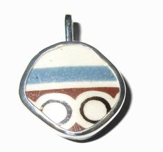 Broken China Jewelry Abstract Pendant  Sterling by MaroonedJewelry