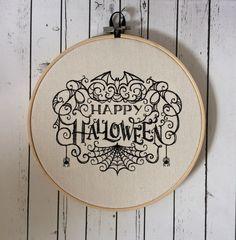 Happy Halloween Wall Art, Embroidered Hoop Art