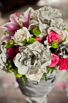 newspaper roses - http://tiedbowblog.files.wordpress.com/2012/08/paper_wedding_decor_05.jpg?w=560