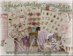 Scraps of Elegance scrapbook kit club - April 'Lynne's Garden Terrace' kit, featuring BoBunny Garden Journal and Prima Butterfly collections, and much more!  Find our kits here: www.scrapsofdarkness.com