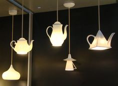 ceramic teapot lights - too cute - omg - I see pitchers like this too!!!