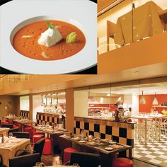 Hip, downtown restaurant SD26 features a cocktail lounge and a menu that includes a light chilled tomato soup.