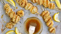 Scallops cook really quickly so keep an eye on the broiler. Try the kabobs on the grill as well. Greenbean Casserole Recipe, Casserole Recipes, Spinach Casserole, Seafood Recipes, Chicken Recipes, Fish Recipes, Seafood Meals, Grilled Recipes, Kabob Recipes
