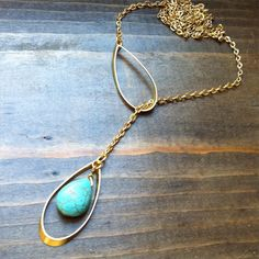 New design: Turquoise teardrop & brass lariat Y necklace <3 By BlueTribe…