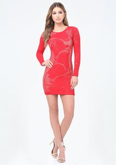 bebe Janet Net Bodycon Dress