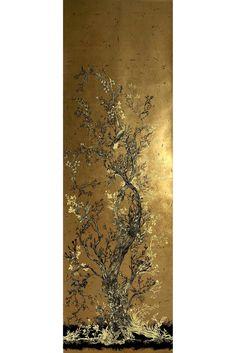 golden oriole wallpaper panels - A4 sample / black & gold 1