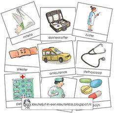 Activiteiten met woordkaarten bij het thema 'Ziekenhuis' (met tekeningen van Dagmar Stam)