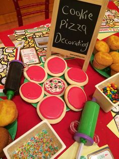 Pizza cookie decorating station at a Pizza birthday party! See more party planning ideas at CatchMyParty.com!