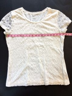 Van Huesen Tee Lace Front Short Sleeve Cream Floral Lace Size L Cotton Blend #VanHeusen #KnitTop #CareerCasualDressy