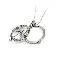silver dragonfly magnifying glass necklace