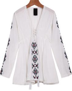 Shop White V Neck Long Sleeve Embroidered Blouse online. Sheinside offers White V Neck Long Sleeve Embroidered Blouse & more to fit your fashionable needs. Free Shipping Worldwide!