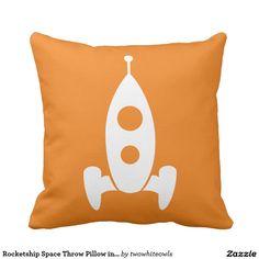 Rocketship Space Throw Pillow in Orange & White