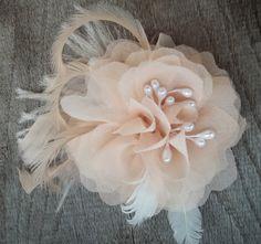 Bridal Fascinator Chiffon Flower Wedding Hair by kathyjohnson3