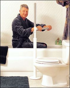 Advantage Rail is a Transfer Pole Support Rail that can be installed in any room in the home to aid in standing up or sitting down. Handicap Bathroom, Forms Of Dementia, Gadgets, Elderly Home, Mobility Aids, Aging In Place, Making Life Easier, Personal Hygiene, Construction