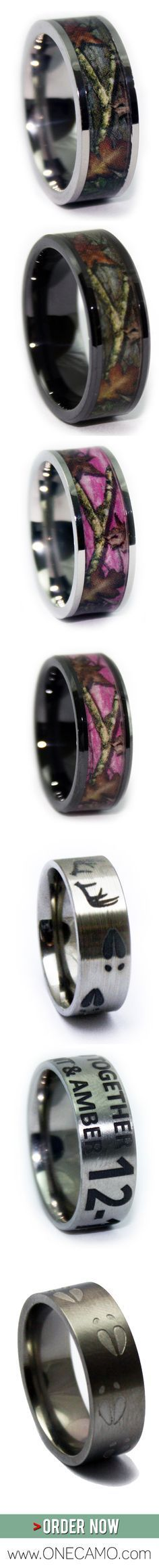 Looking for a gift for your hunter? Having a Camo Wedding? Do you LIVE in Mossy Oak and Realtree Camo apparel? Love the outdoors and hunting? ONECAMO created these Hunting Rings for you! Order now at www.1CAMO.com