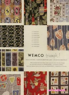 Original Vintage Ad (1956): Wemco Furnishings. Viyella. Fabric