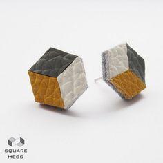 Geometryczne kolczyki żółto-szare ze skóry w SquareMess na DaWanda.com