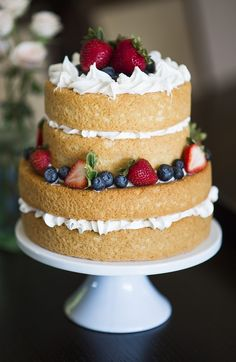 "Love the ""naked"" wedding cake look. This would also make a great cake for a red, white, and blue themed wedding or event. Photo by Trish Barker Photography. Bolo Neked Cake, Bolo Nacked, Nake Cake, Cake Recipes, Dessert Recipes, Wedding Cake Rustic, Wedding Cakes, Wedding Cake Inspiration, Chocolate Art"