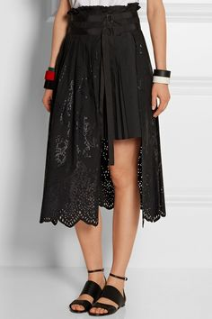 sacai   Laser-cut cotton-shell wrap skirt.