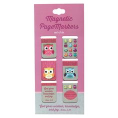"Magnetic Bookmarks  Wisdom For the Soul  Set of 6  Owls   Set of six small magnetic bookmarks with various designs. 0.75"" x 1"" .  * God gives wisdom, knowledge, and joy. Ecclesiastes 2:26. * Wisdom is sweet to your soul. Proverbs 24:14.  Price: R37 per Packet."