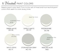 Trim: either Benjamin Moore. Simply White Benjamin Moore or White Dove House: Benjamin Moore. Stonington Gray White Dove is slightly softer than Simply White, with a gray undertone. Best Neutral Paint Colors, Interior Paint Colors, Paint Colors For Home, Wall Colors, House Colors, Paint Colours, Interior Design, Paint Decor, Benjamin Moore White