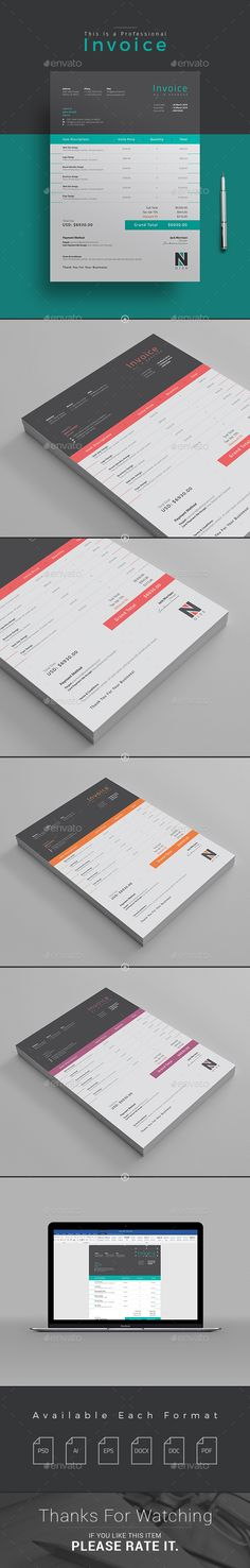 Invoice Template PSD, Vector AI. Download here: http://graphicriver.net/item/invoice/15468166?ref=ksioks
