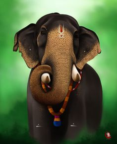 """Digital art by me in Photoshop. It's one of the 10 famous elephants from Kerela. I chose this one to illustrate and is popularly known as """"Thechikottukavu Ramachandran"""" nick named as """"Raman"""". Elephant Images, Elephant Pictures, Elephants Photos, Lord Ganesha Paintings, Ganesha Art, Krishna Painting, Ganesha Tattoo, Indian Elephant, Elephant Love"""