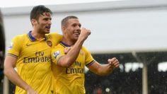Giroud and Poldi. Fulham 1 Arsenal 3
