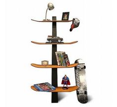 Skateboard shelf is a piece of furniture that every skateboard lover would tell your that is awesome. I know that because last month I've meet someone who is in love with skateboarding, and he fall in love with this piece of furniture. Perfect for students and kids, it provides substantial storage space for books, display and even skateboard paraphernalia.