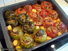 greek gemista stuffed tomatoes and vegetables recipe.Here's what's on for dinner tonight!baked greek gemista stuffed tomatoes and vegetables recipe.Here's what's on for dinner tonight! Greek Stuffed Peppers, Stuffed Tomatoes, Stuffed Tomato Recipes, Vegetable Recipes, Vegetarian Recipes, Cooking Recipes, Cyprus Food, Greece Food, Kitchen
