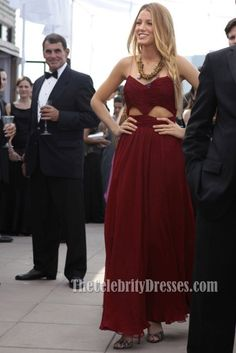 Blake Lively Burgundy Cut Out Prom Evening Dress Gossip Girl Fashion