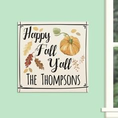 "Personalized ""Happy Fall"" Wall Canvas"