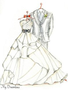 Sketch of Wedding Dress & Suit. Paper Anniversary Gifts For Her Wedding Gifts F - Modern 25 Year Anniversary Gift, Paper Anniversary, Anniversary Boyfriend, Boyfriend Birthday, Wedding Dress Suit, Wedding Dresses, Wedding Dress Sketches, Wedding Day Gifts, Dress Drawing