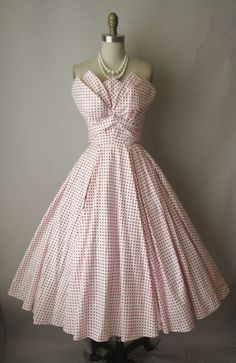 """1950's Fred Perlberg Strapless Dress with interesting """"handkerchief"""" bodice details."""